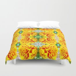 Symmetrical Yellow Flowers Duvet Cover