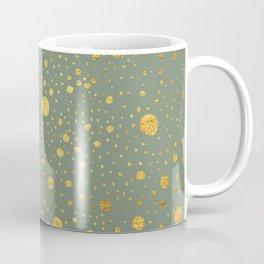 Gold leaf hand drawn dot pattern on fern green Coffee Mug