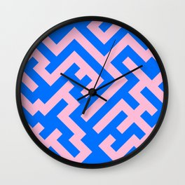 Cotton Candy Pink and Brandeis Blue Diagonal Labyrinth Wall Clock