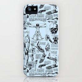 Da Vinci's Anatomy Sketchbook // Light Blue iPhone Case
