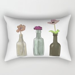 Flowers in Glass Bottles . Pastel Colors Rectangular Pillow