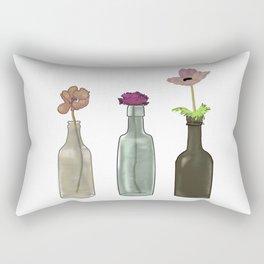 Flowers in Glass Bottles . Pastel Colors Rectangular Pillow