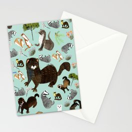 Mustelids from Spain pattern Stationery Cards