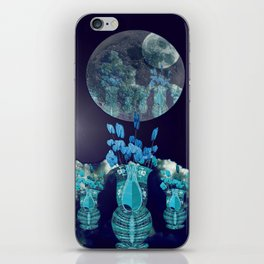 Moon with Clouds and Flowers Still Life Landscape iPhone Skin