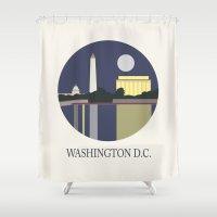 washington Shower Curtains featuring Washington D.C by uzualsunday