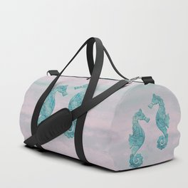 Teal And Pink Seahorse Couple Underwater Magic Duffle Bag