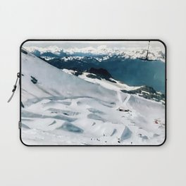 Snowy life on slope under T-bar lifts Laptop Sleeve