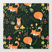 fleet foxes Canvas Prints featuring Foxes by Julia Badeeva