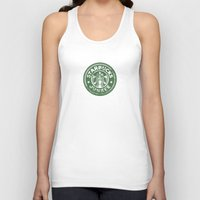starbucks Tank Tops featuring Starbucks Junkee by Snorting Pixels