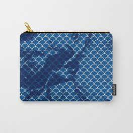 Snorkel blue small scallops with dark texture Carry-All Pouch