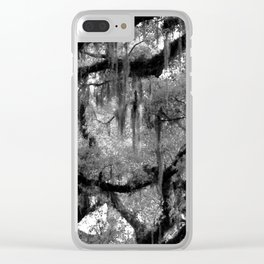 Oak and Moss in Black and White, Study 2 Clear iPhone Case
