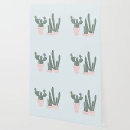 Soft Pastel Cacti Design Wallpaper