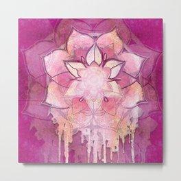 Pink Watercolor Mandala Metal Print