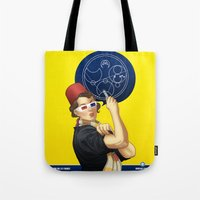 feminism Tote Bags featuring Whovian feminism by ElinJ