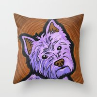 westie Throw Pillows featuring Purple Westie by Gianna Brucato