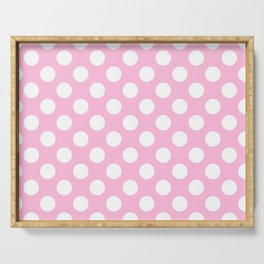 White polkadots dots polkadot circles on pink Serving Tray