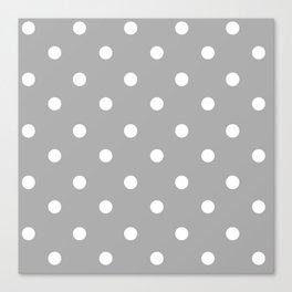 Gray With Teeny Weeny White Polka Dots Canvas Print
