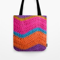 60s Tote Bags featuring 60s Colours by Wild Daffodil