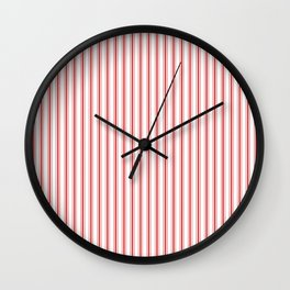 Mattress Ticking Narrow Striped Pattern in Red and White Wall Clock