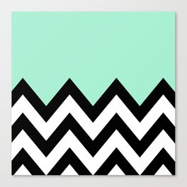 MINT GREEN COLORBLOCK CHEVRON Canvas Print