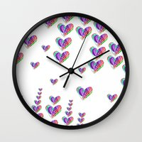 tetris Wall Clocks featuring Love Tetris by Len Tierra