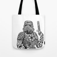 storm trooper Tote Bags featuring Storm Trooper  by ATELOPHILIA DESIGNS