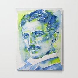 NIKOLA TESLA - watercolor portrait.5 Metal Print