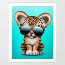 Cute Baby Tiger Wearing Sunglasses Art Print