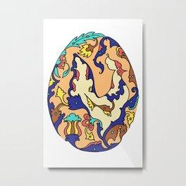 Persian Motif Egg Metal Print