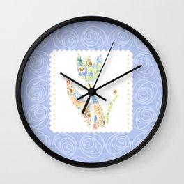 Sweet Hugs & Kisses, blue background Wall Clock