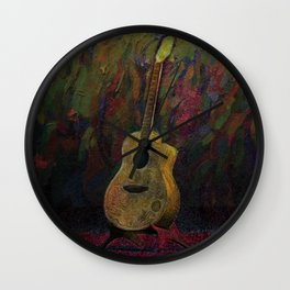 Guitar in Stand Wall Clock