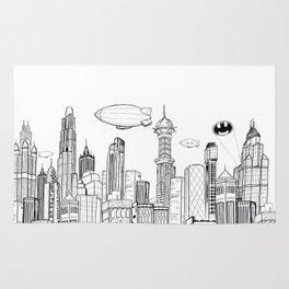 Gotham City Skyline Rug