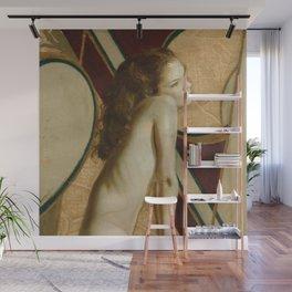 Female Nude Figure Art Nouveau Painting Modern Geometric Minimalist Red Yellow Gray Wall Mural