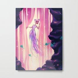 Blonde Jellyfish Mermaid Metal Print