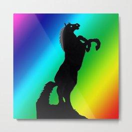 Rearing Horse Spectrum Metal Print