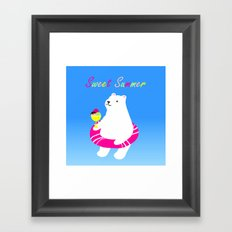 Sweet Summer Polar Bear Framed Art Print