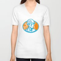 engineer V-neck T-shirts featuring Construction Worker Engineer Pylons Retro by retrovectors