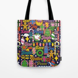 60s 70s Colorful Christmas Pattern Tote Bag