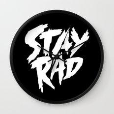 Stay Rad (on Black) Wall Clock