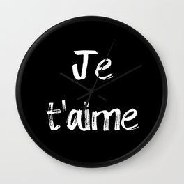 Je t'aime Black Wall Clock