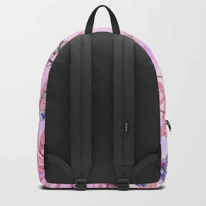 little blue flowers and pink leaves Backpack