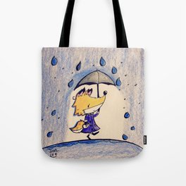 Fox in Rain Tote Bag