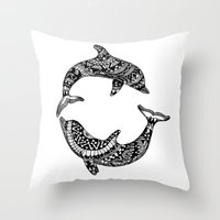 dolphins Throw Pillows featuring Dolphins by Emma Barker