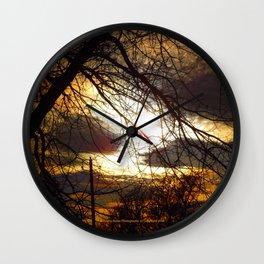 Idaho Trees - Dark Tree Fire Sky - Jeronimo Rubio Photography 2016 Wall Clock