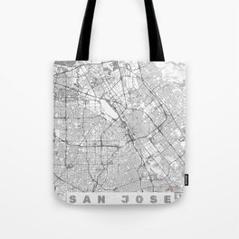 San Jose Map Line Tote Bag