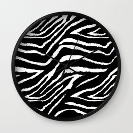 Animal Print Zebra Black and White Wall Clock