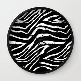 Animal Print Zebra Black and White Wall Clock