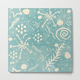 Winter Snowflakes and Doodles Metal Print