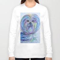 shih tzu Long Sleeve T-shirts featuring Purse Pup - Shih Tsu by EloiseArt