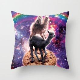 Space Cat Llama Alpaca Riding Cookie Throw Pillow